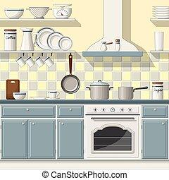 Illustrtion of a classic kitchen