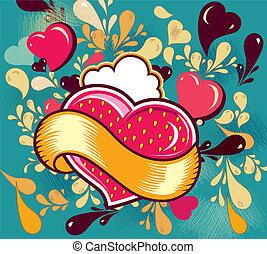 Illustrtion with heart - Fun cartoon illustrtion with heart