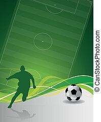 illusztrált, futball játékos, noha, labda