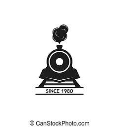 illutration, locomotiva, icona, logotipo, vettore, classico...
