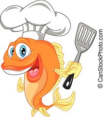 fish chef cartoon - illutration of fish chef cartoon