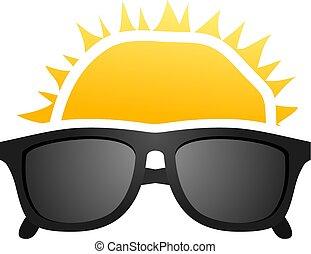 illutration, sole, occhiali da sole
