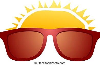 illutration, sole, occhiali da sole, rosso