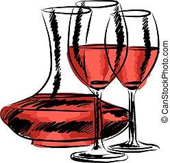 illutration, vino