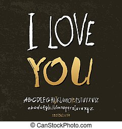 Ilove you hand lettering, handmade calligraphy, vector