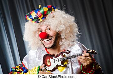 ilsket, clown, med, gitarr, in, rolig, begrepp