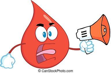 ilsket, droppe, blod, röd
