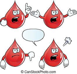 ilsket, droppe, sätta, blod