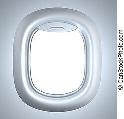 iluminação, porthole., avião
