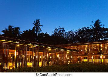 iluminação, restaurante, noturna