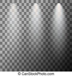 iluminación, escena, proyector