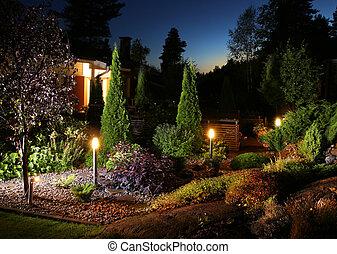 iluminación, jardín, luces