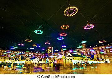 iluminación, navidad, mercado, madrids