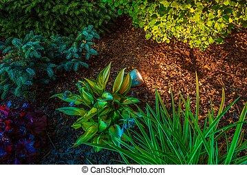 iluminación, punto, jardín