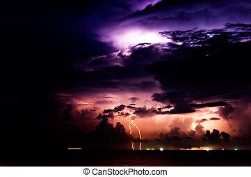 iluminación, tormenta