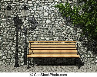 iluminado, banco, pared de piedra