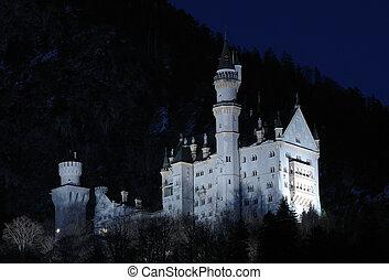 iluminado, baviera, neuschwanstein, asombroso, alemania, castillo, night.
