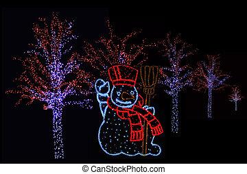 iluminado, boneco neve, e, árvores