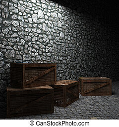 iluminado, cajas, pared de piedra