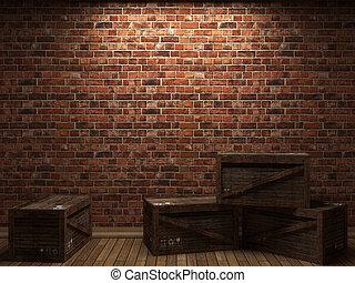 iluminado, cajas, pared, ladrillo