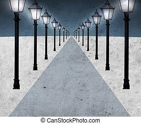 iluminado, caminho