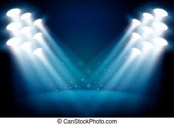 iluminado, etapa, con, escénico, luces, vector, plano de...