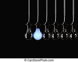 iluminado, fluorescente, bulbo, luz