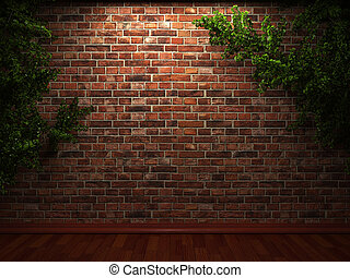 iluminado, hiedra, pared, ladrillo