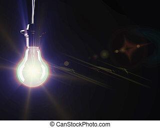 iluminado, luz fluorescente, bombilla