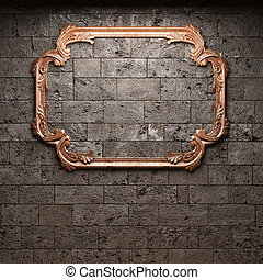 iluminado, marco, pared de piedra