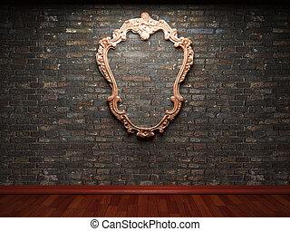 iluminado, marco, pared, ladrillo