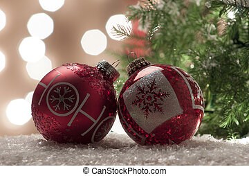 iluminado, Ornamento, árvore, Natal, fundo