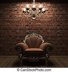 iluminado, pared, silla, ladrillo