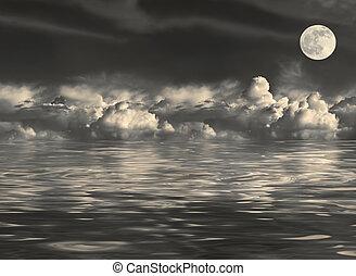 iluminado por la luna, vista marina