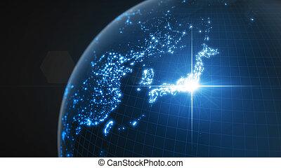 iluminado, potencia, densidad, energía, tokyo., oscuridad, rayo, ilustración, humano, areas., ciudades, globo, japón, 3d