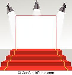 iluminado, quadro, pedestal