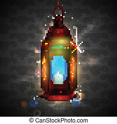 iluminado, ramadan, lámpara, plano de fondo, kareem, (...