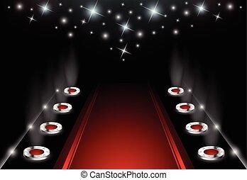 iluminado, tapete vermelho