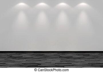 iluminado, vlank, sala, parede, mancha, quatro, luzes