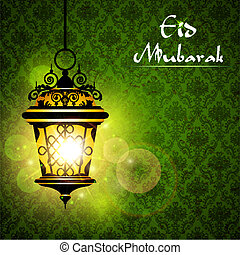 illustration of illunminated lamp on Eid Mubarak background