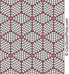 ilusión, óptico, pattern., diamantes, hexágonos