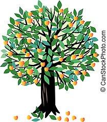 ilustração, árvore abricó