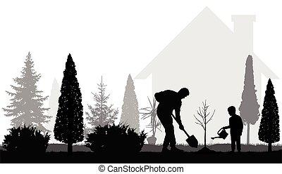 ilustração, árvore, jardim, vetorial, pai, planta, filho, casa, silhouettes.