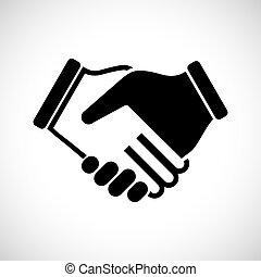 ilustração, ícone, vetorial, apertar as mãos
