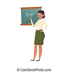 ilustração, óculos, vetorial, explicando, formula., fundo, professor, isolado, escola, branca