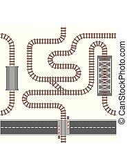 ilustração, aço, ondulado, feito, transporte, pista, trilho, topo, madeira, seamless, padrão, ou, connections., vetorial, curvy, direito, trem, estrada ferro, vista., ferrovia