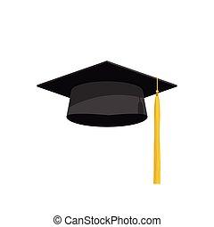 Ilustração, academia, boné, graduação, vetorial, chapéu, ícone