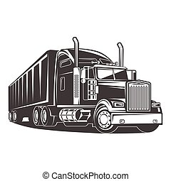 ilustração, americano, caminhão, pretas, branca, reboque