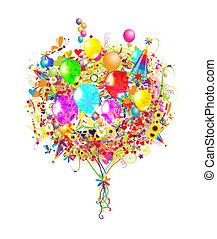 ilustração, aniversário, desenho, balões, seu, feliz