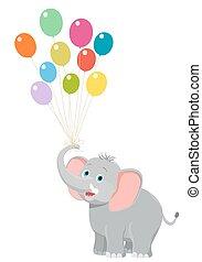 ilustração, aniversário, vetorial, white., elefante, bebê, balões, caricatura, feliz